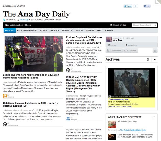 The Ana Day Daily divulgando o Coletivo Esquina na gringa! veja o Ana Day Daily em http://paper.li/anaday_