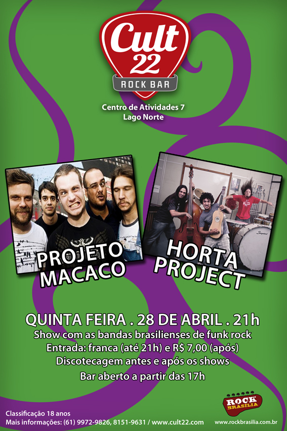 Projeto Macaco e Horta Project no Cult 22 rock Bar